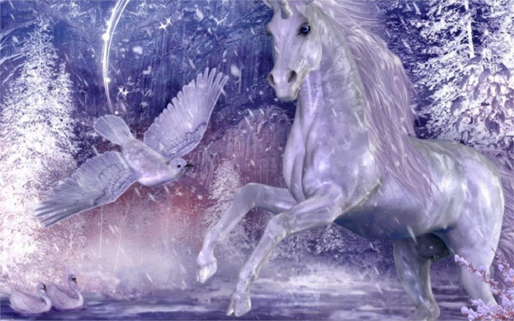 24X36 INCH / ART SILK POSTER / white unicorn and dove and two swans on the water frozen trees snow winter Home Decoration