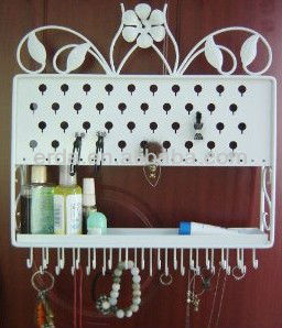 Wall Mount Jewelry Diasplay Hanging Earring Holder and Necklace with Tray