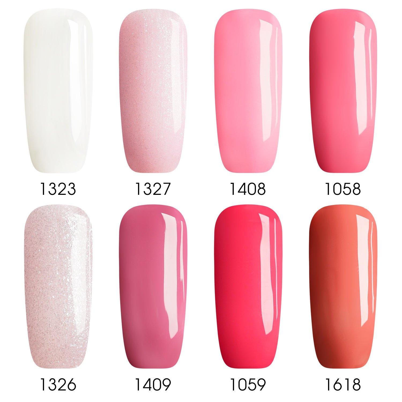 Vrenmol 8pcs Gel Nail Polish Set, Soak Off UV/LED Pink Gel Lacquer Kit 8ml