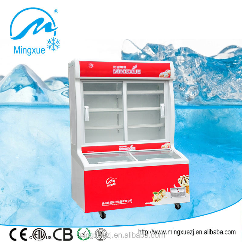 two sliding glass door commercial refrigerator vegetable showcase kitchen equipment