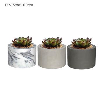 Decorative Wood Marble Flower Pot Pine Plant S