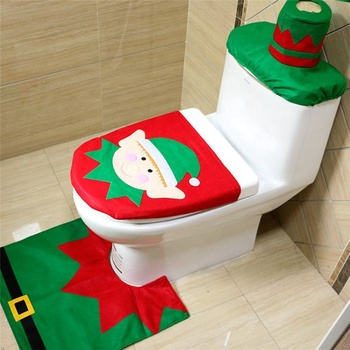 3Pcs/set Christmas Toilet Seat Cushion Toilet Kit Christmas Ornament Se Santa Claus Rug Bathroom Set Christmas Gift