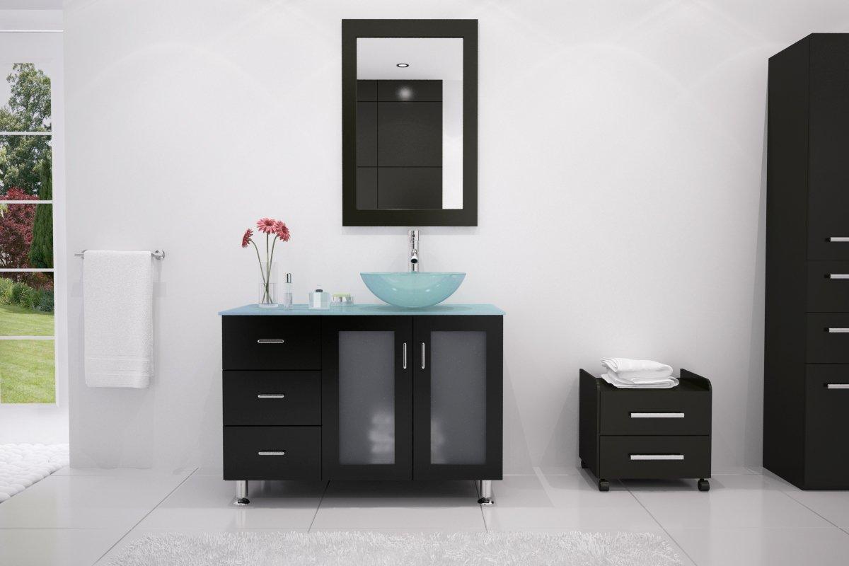 JWH Living Lune 39 in. Single Glass Vessel Bathroom Vanity