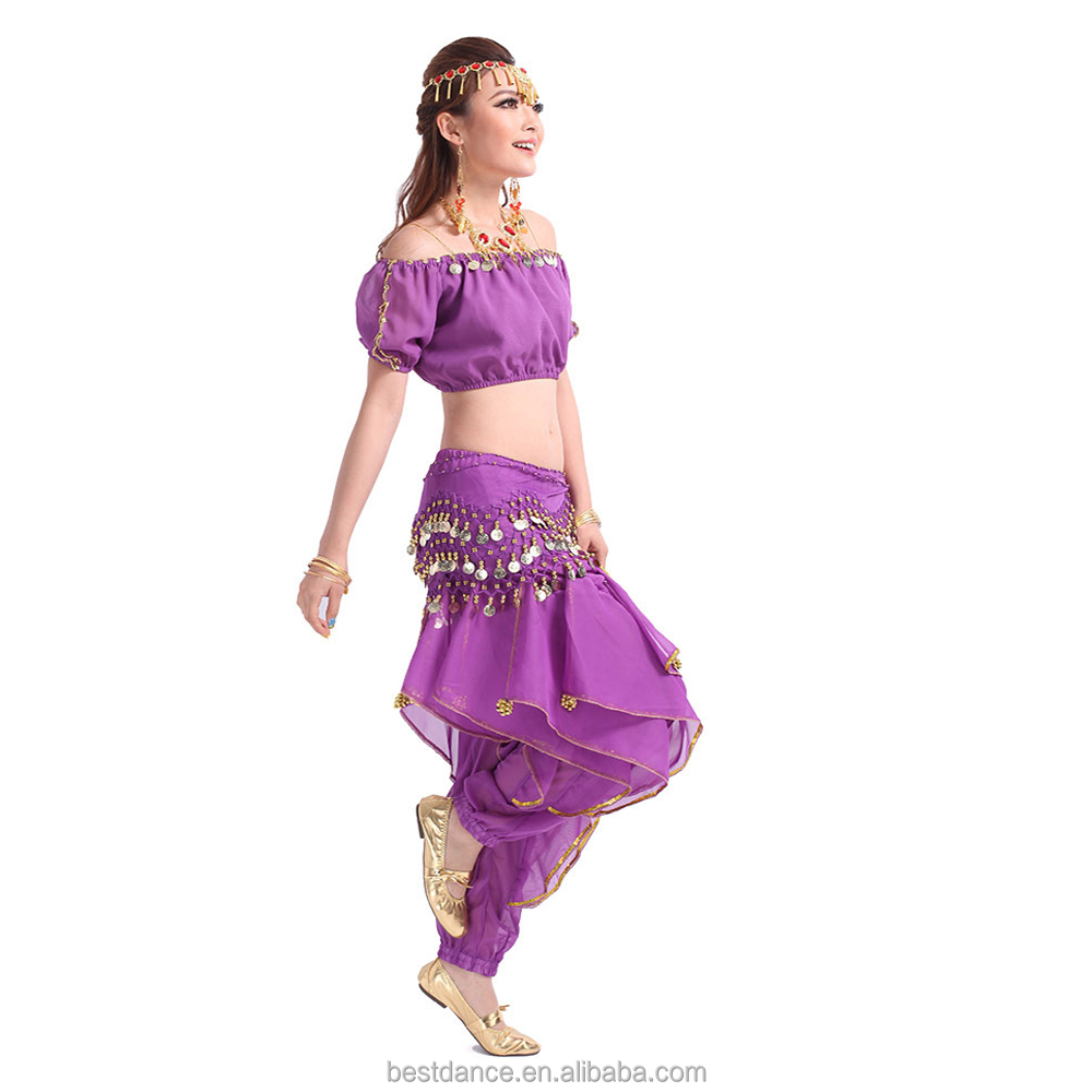 BestDance indian Belly Dance Set Beads Bel Belly Dance Costume Set Beads Bells Top+Shinny Sequin Balloon trouser OEM
