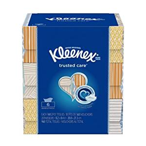 Kleenex Everyday Facial Tissues, 160 Tissues per Flat Box | Offers Gentle Care for Face and Hands (160 Tissues)
