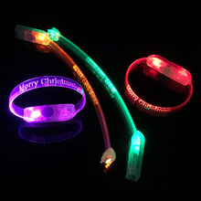 2017 Christmas Gift Led Decoration Item Party Supplies Glowing In The Dark Customized Led Flashing Bracelet Wristband