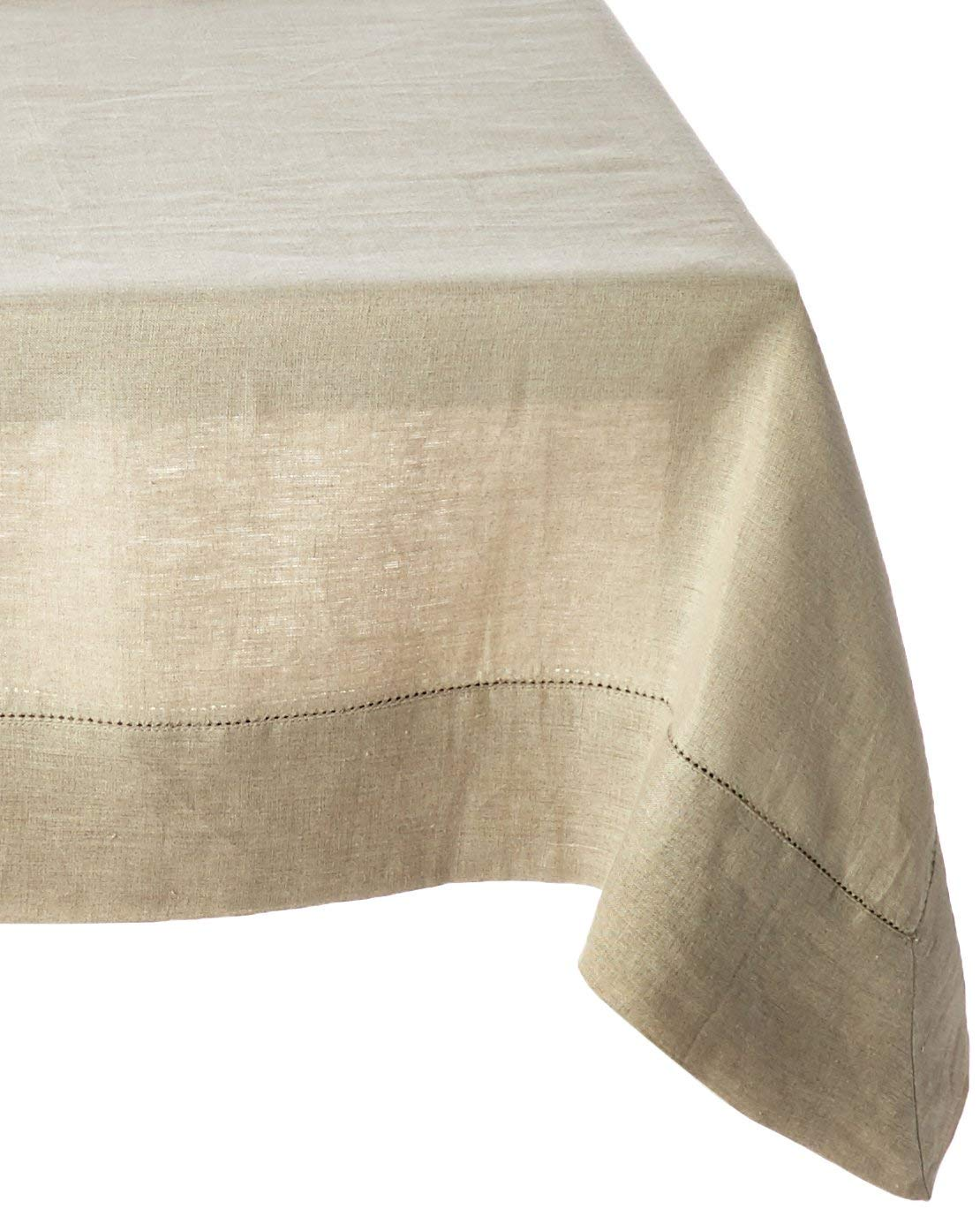 100% Linen Hemstitch Table Cloth - Size 60x108 Natural - Hand Crafted and Hand Stitched Table Cloth with Hemstitch detailing. The pure Linen fabric works well in both casual and formal settings