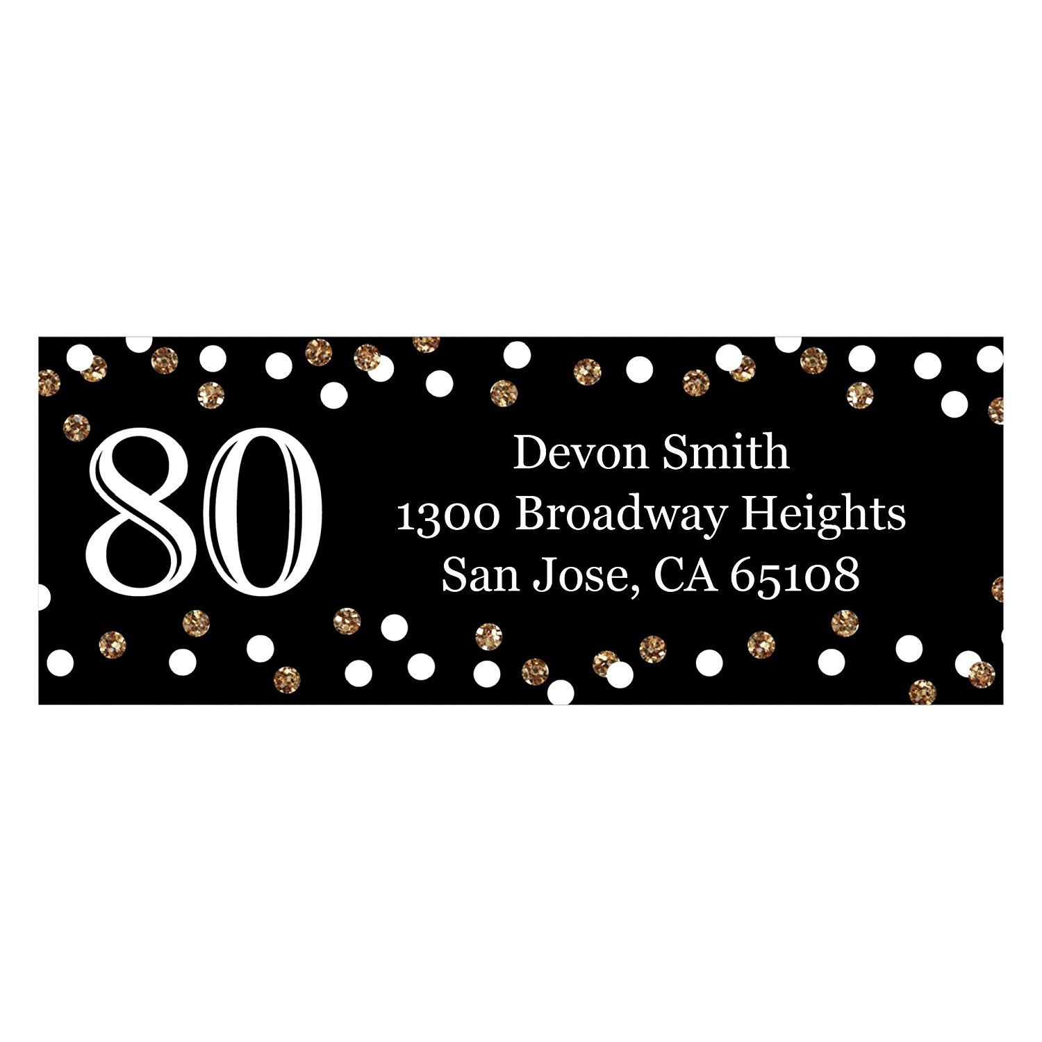 Custom Adult 80th Birthday - Gold - Personalized Birthday Party Address Labels - Set of 30