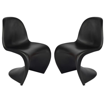 Black Plastic Z Shape Dining Chairs Modern