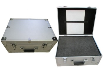 Aluminum suitcase with cut foam padding,new aluminum tool box in aluminum case with secure locks and handle
