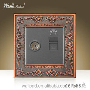 2015 Wholesaler Wallpad Luxury Zinc Alloy Wall Switch Cable Television Telephone Weak Current Wall Socket TV TEL Socket