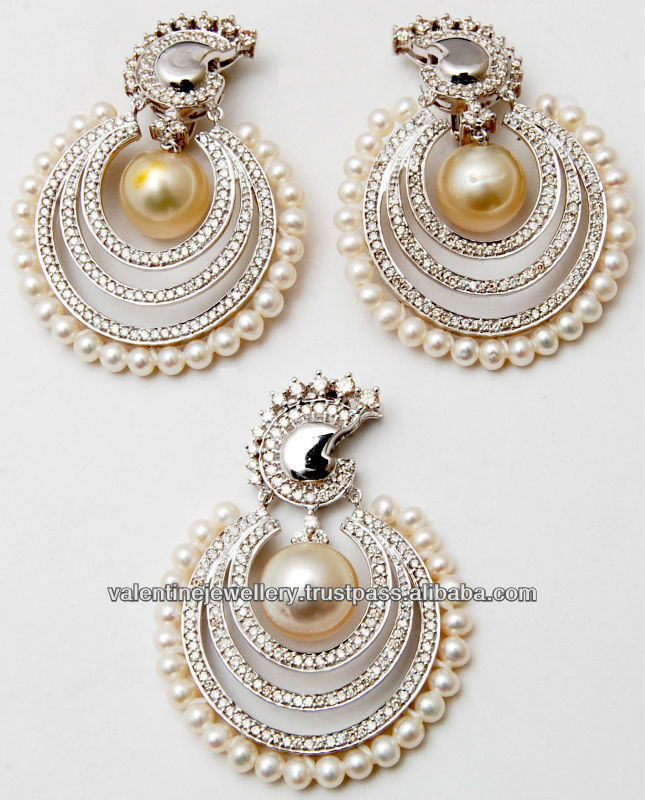 Natural South Sea Pearl Earring Set With Pendent Exclusive Designer Indian Earrings Perfect Match P