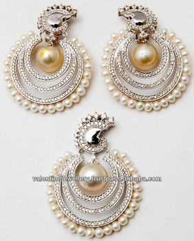 Natural South Sea Pearl Earring Set With Pendent Exclusive Designer Indian