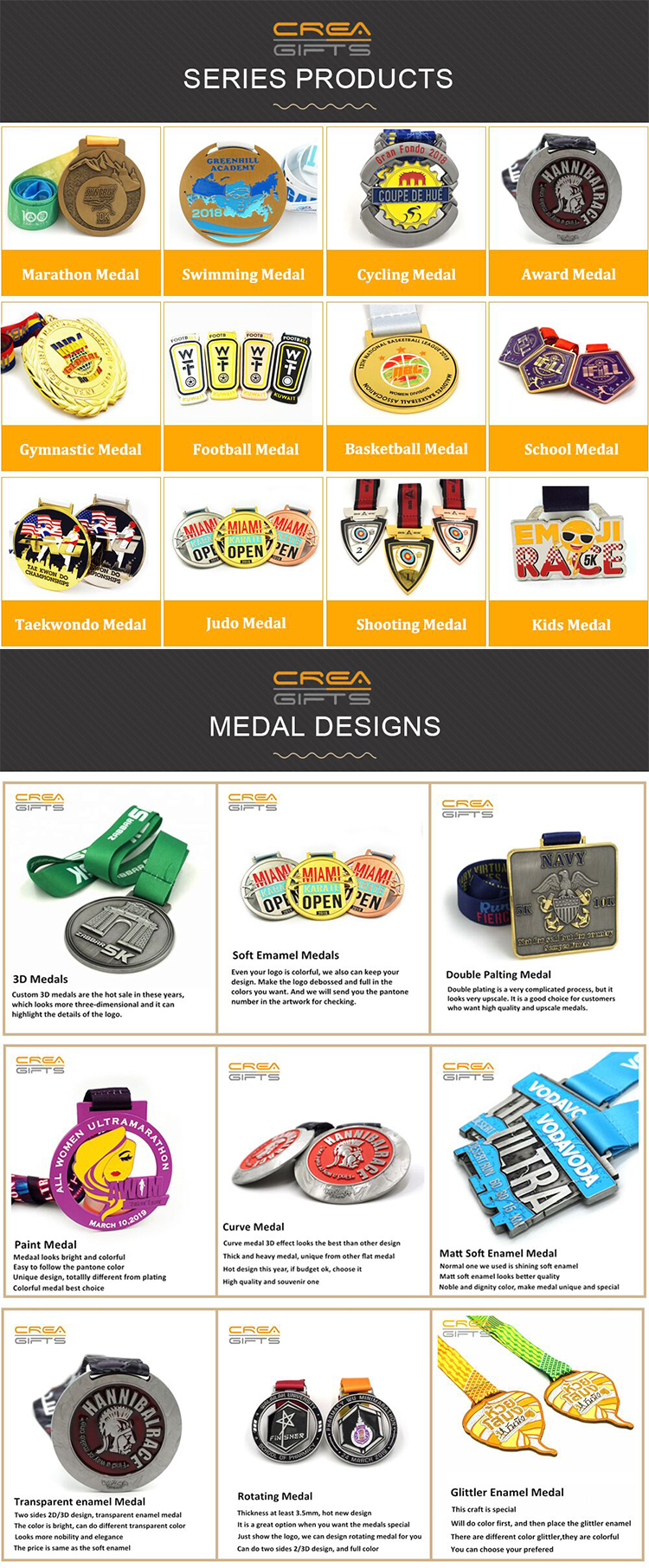 2019 Factory Hot Sale Newest Custom 3D Metal Award Contain Ribbon sports Running Medal