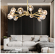 wholesale all brass Modern style home 8 arms all pure copper chandelier pendant light with crystal shade 0113