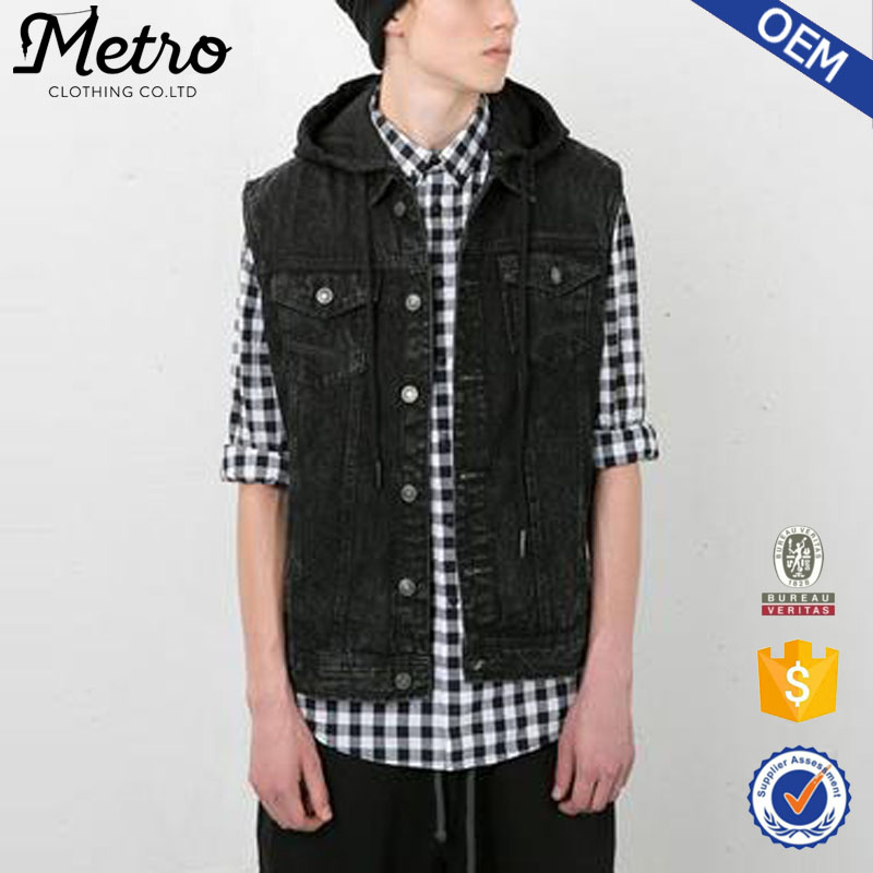 OEM Custom Fashion Zwarte Mens Hooded Denim Vest