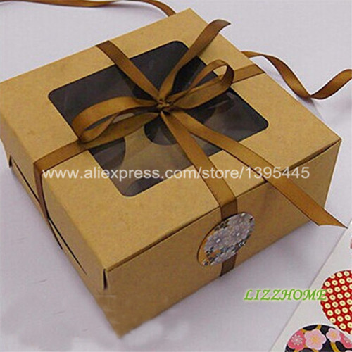 Wholesale 30pcs Lot 4 Inserts Brown Cupcake Boxes Elegant