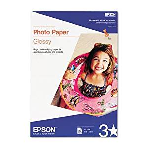 EPSON AMERICA Glossy Photo Paper, 60 lbs., Glossy, 13 x 19, 20 Sheets/Pack (S041143)