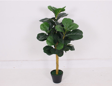 HOT sale 0.9 m high natural trunk plastic leaves decorative plant bright green artificial ficus tree