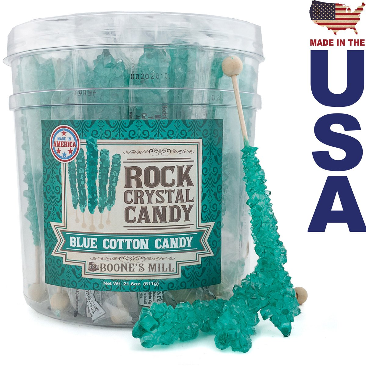 Boone's Mill | Rock Crystal Candy Sticks | Caribbean Blue Cotton Candy | 36 Count