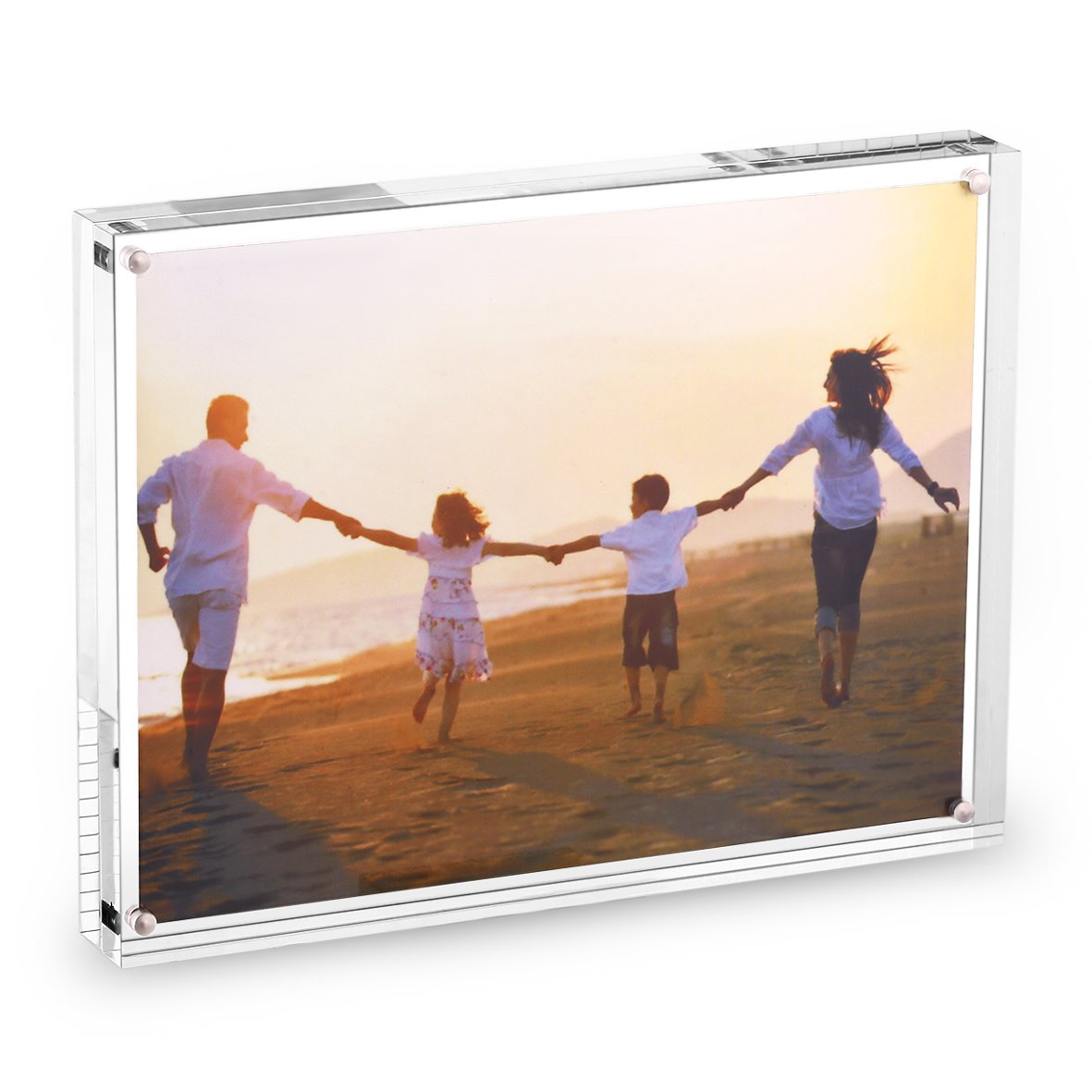 HESIN 8.5 by 11 inch Clear Acrylic Photo Frame Thickness 30mm ,Stable Tabletop Magnet Frame Double Sided Picture frame with Gift Box Package