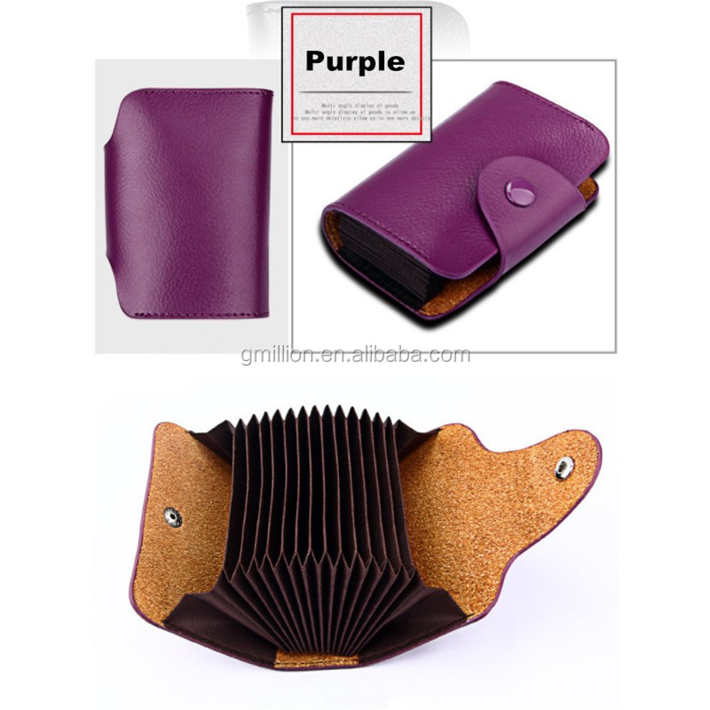 Manufacture Wholesale Genuine Leather Slim Wallet for Women RFID blocking card holder Small Card Wallet Card Purses