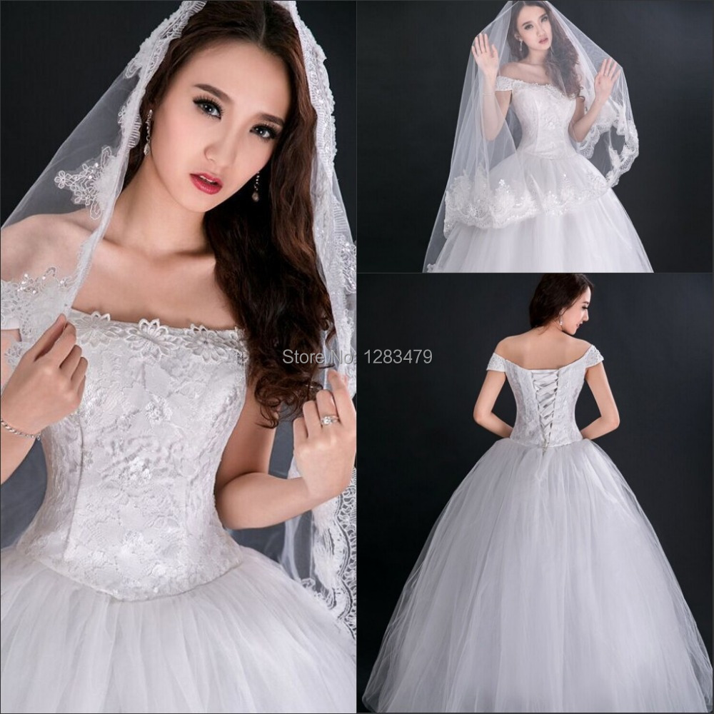 Hot Sale White Ball Gown Lace Strapless Cheap Wedding