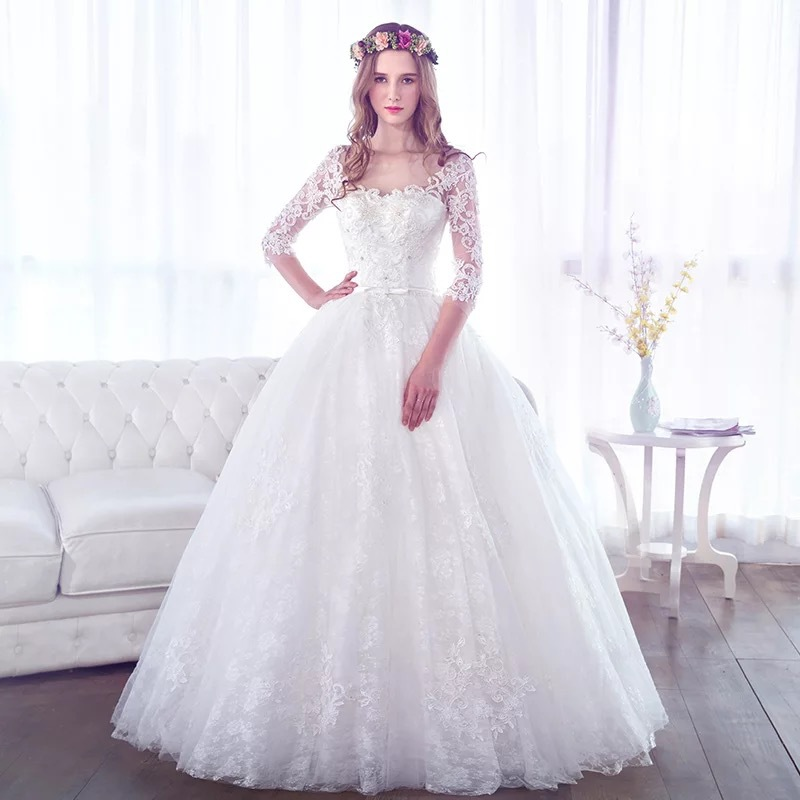 Cheap 3 4 Sleeve Wedding Dresses: Online Wedding Dresses China Sheer Neckline 3/4 Sleeve