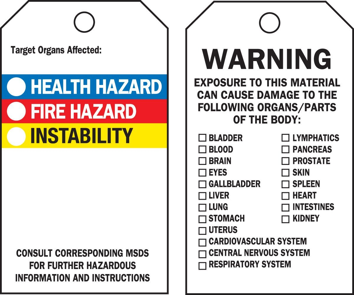 """Brady 76229 5 3/4"""" Height x 3"""" Width, Heavy-Duty Vinyl with Clear Polyester Overlaminate (B-851^B-674), Black, Red, Blue, Yellow on White Right-To-Know Accident Prevention Tags (25 Tags)"""