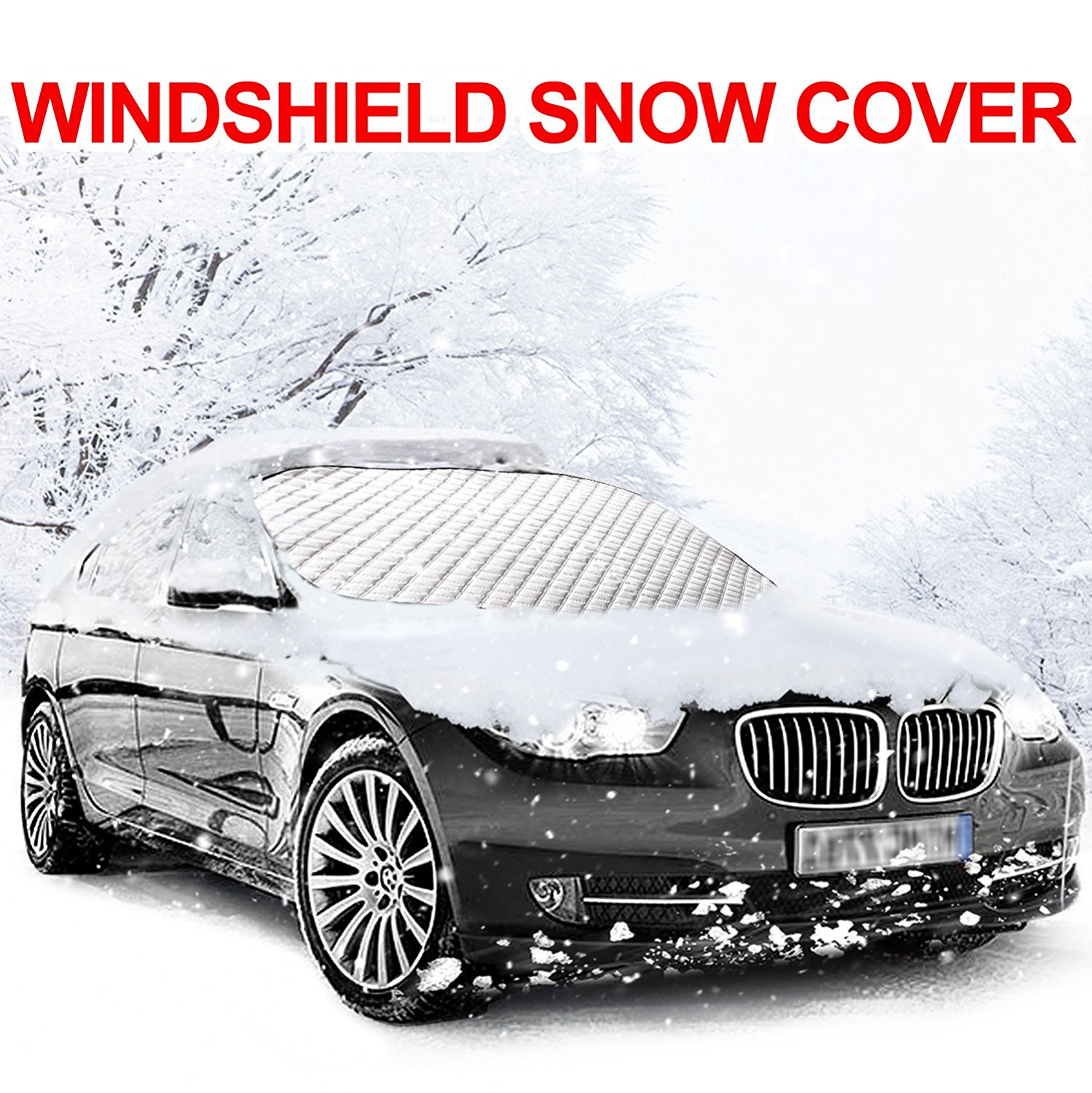 """Car Windshield Snow Cover, KKtick Windshield Snow and Ice Protector Standard-size, Extra Large Heavy Duty Snow Covers Universal Fits for Cars and Mid-Size Vehicles (72"""" x 46"""")"""