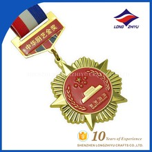 Gold Star Traditional Shaped Design The Chinese Cooking Medals With Red Baked Emblem