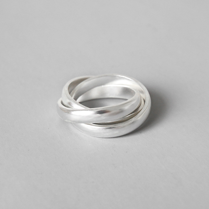 Drei Sterling Silber Bands Trinity Verriegelung Stacking Ring Breite Silber Roll Triple Ring set