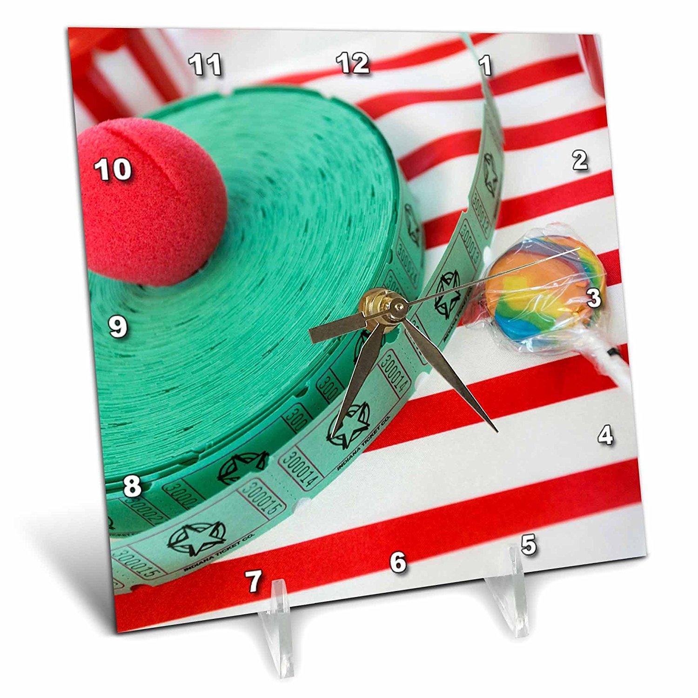 3dRose Danita Delimont - Santa Fe - Raffle tickets and red clown nose, Santa Fe, New Mexico, USA - 6x6 Desk Clock (dc_251258_1)