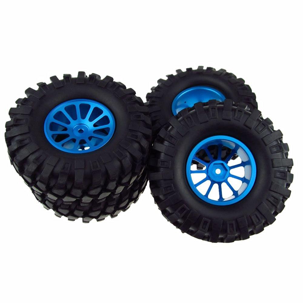 1/10 Buggy Climbing Car RC Wheel Rim 108mm Tyre RC Tires Aluminum Alloy Spoke Blue Pack of 4