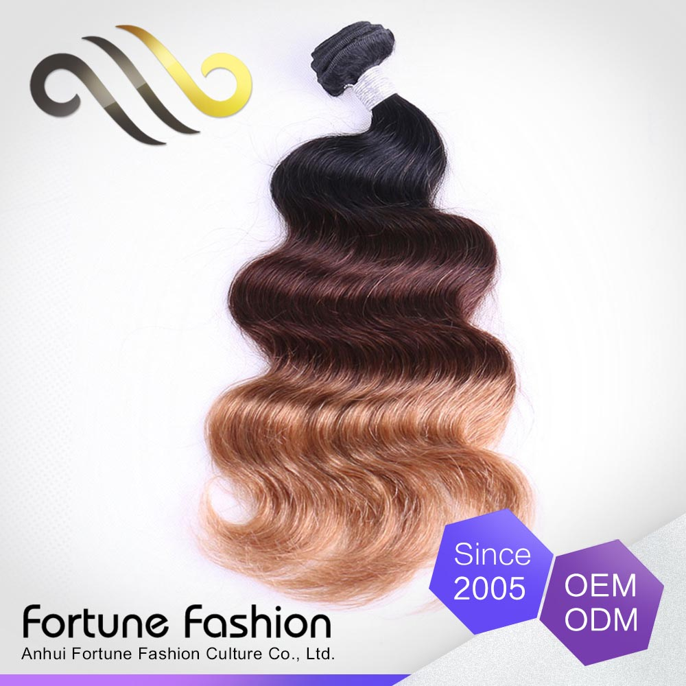 Fortune Fashion brazilian human hair extensions 3 tone mixed color body wave ombre hair