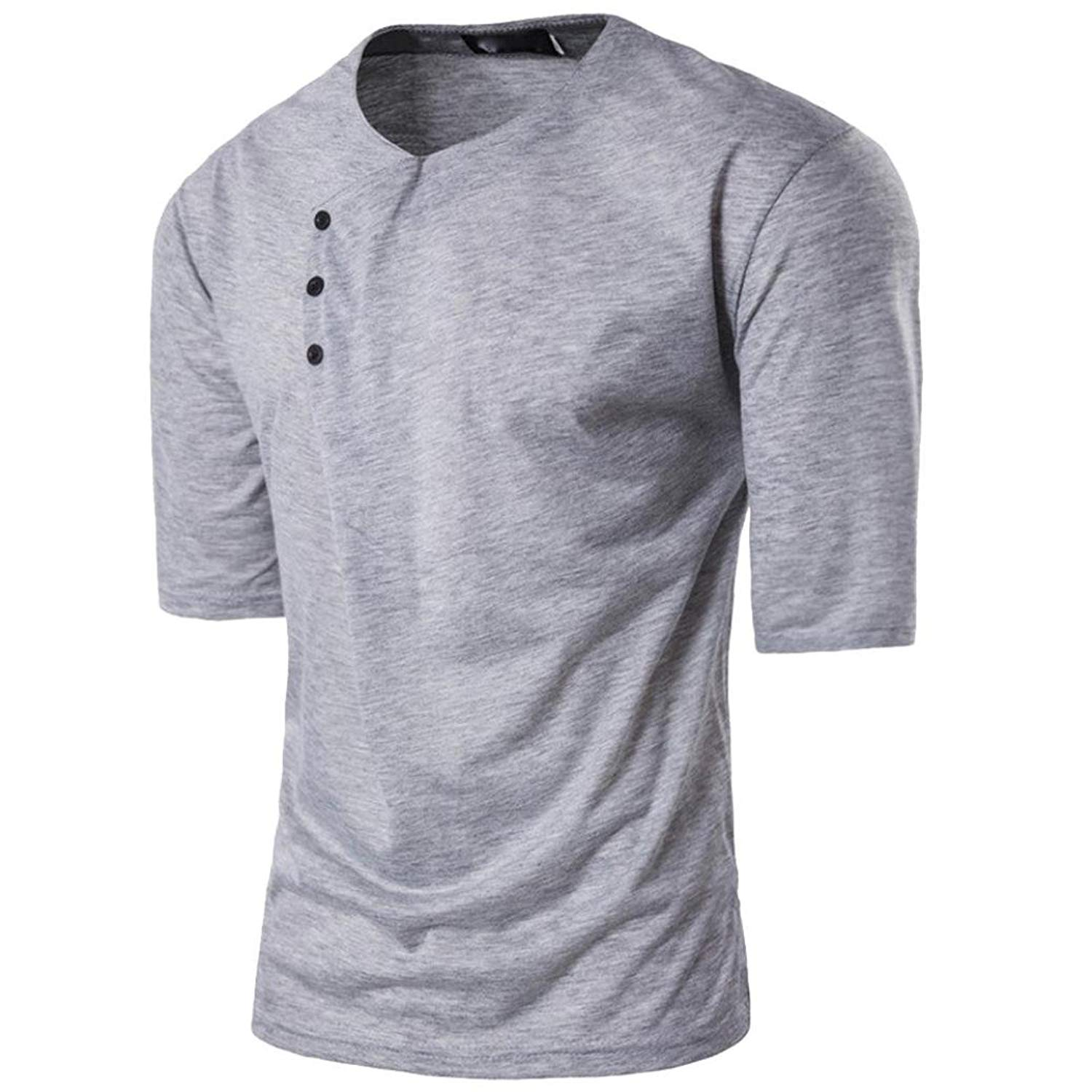 e651caa39 Get Quotations · AliveGOT Mens Casual Slim Fit Half Sleeve Button Henley T- Shirts