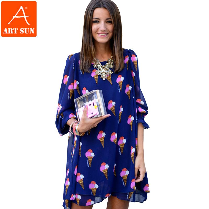 Artsun летнее платье 2015 новинка свободного покроя мороженое печать о женщин горячая распродажа платье-линии летний стиль платья Большой размер