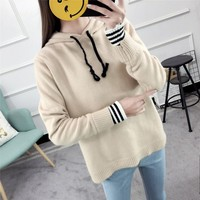 hot sale pink lady winter solid hooded sweater