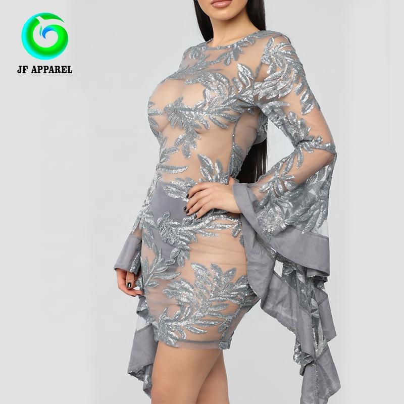 2019 नई गर्मियों में महिलाओं के सेक्सी ग्रे लंबी आस्तीन खोखले बाहर मिडी क्लब कपड़े शाम पार्टी पोशाक फीता पट्टी पोशाक