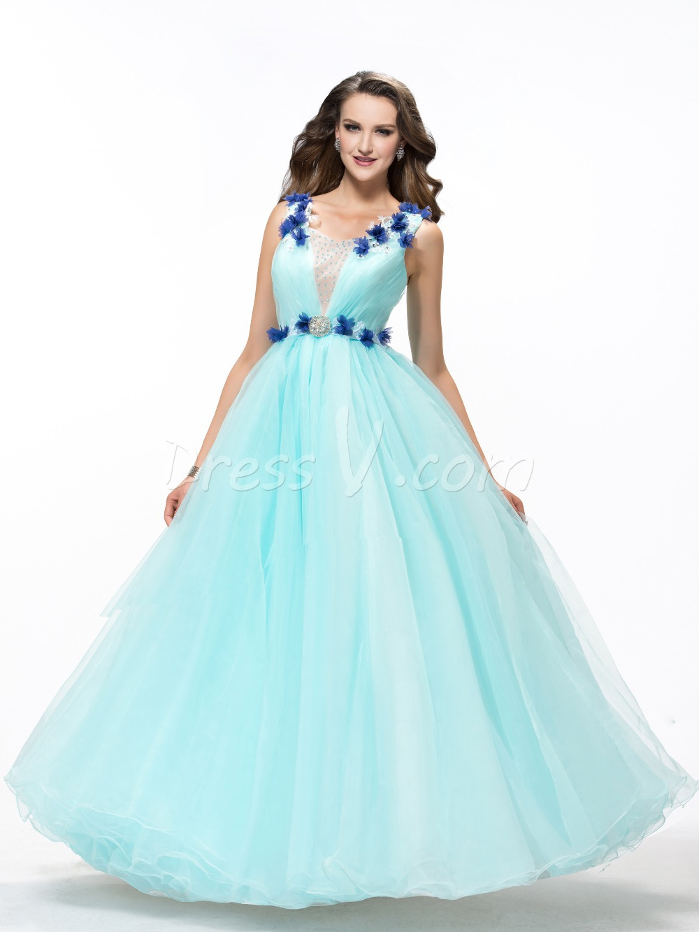 c47db873a041a Get Quotations · Dramatic Quinceanera Dress Straps Flowers Beaded Appliques  Lace-up Organza Ball Gown Blue Quinceanera Gown