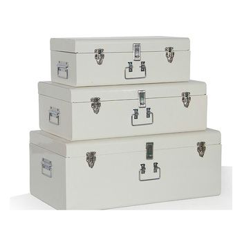 top quality customized set 3 vintage metal material storage trunk box with lock