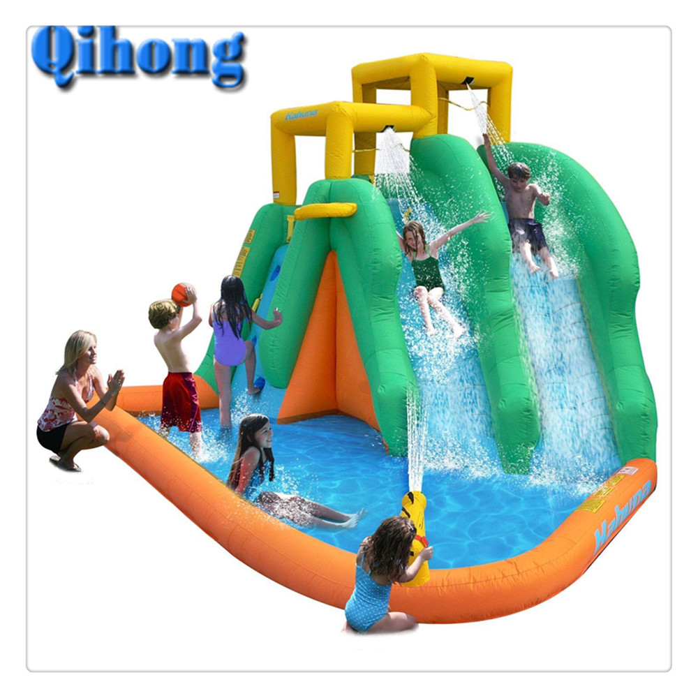 New Design wave Inflatable Water Slide and Pool with Cannon for Water Slide Park