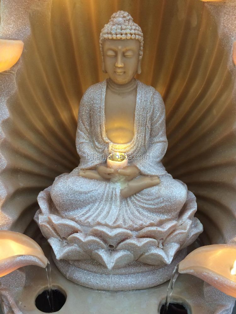 indoor buddha statue wasser brunnen led tabletop religion. Black Bedroom Furniture Sets. Home Design Ideas