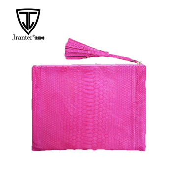 Fashion Design Pink Python Snake Skin Ladies Clutch Evening Bag