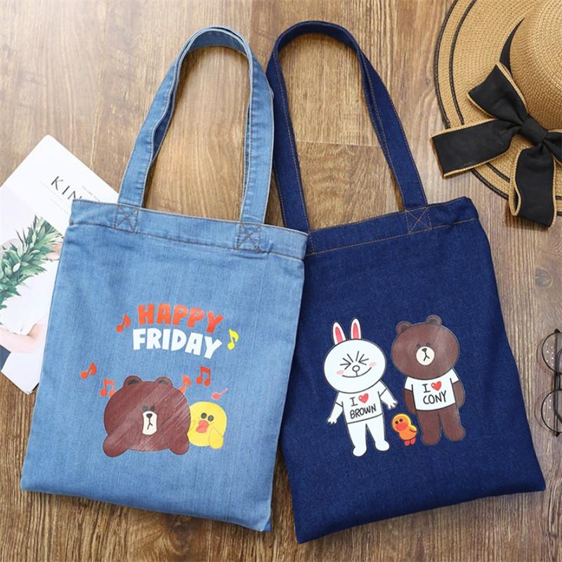 2019 latest hot sell Women girl new style jeans shoulder bag handbag  cartoon print retro denim 60fcfdb673