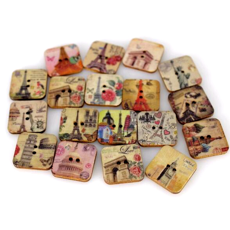 WB-31 Colorful Retro Square wooden buttons with two holes printed Button Sewing Crafts Garment Accessories