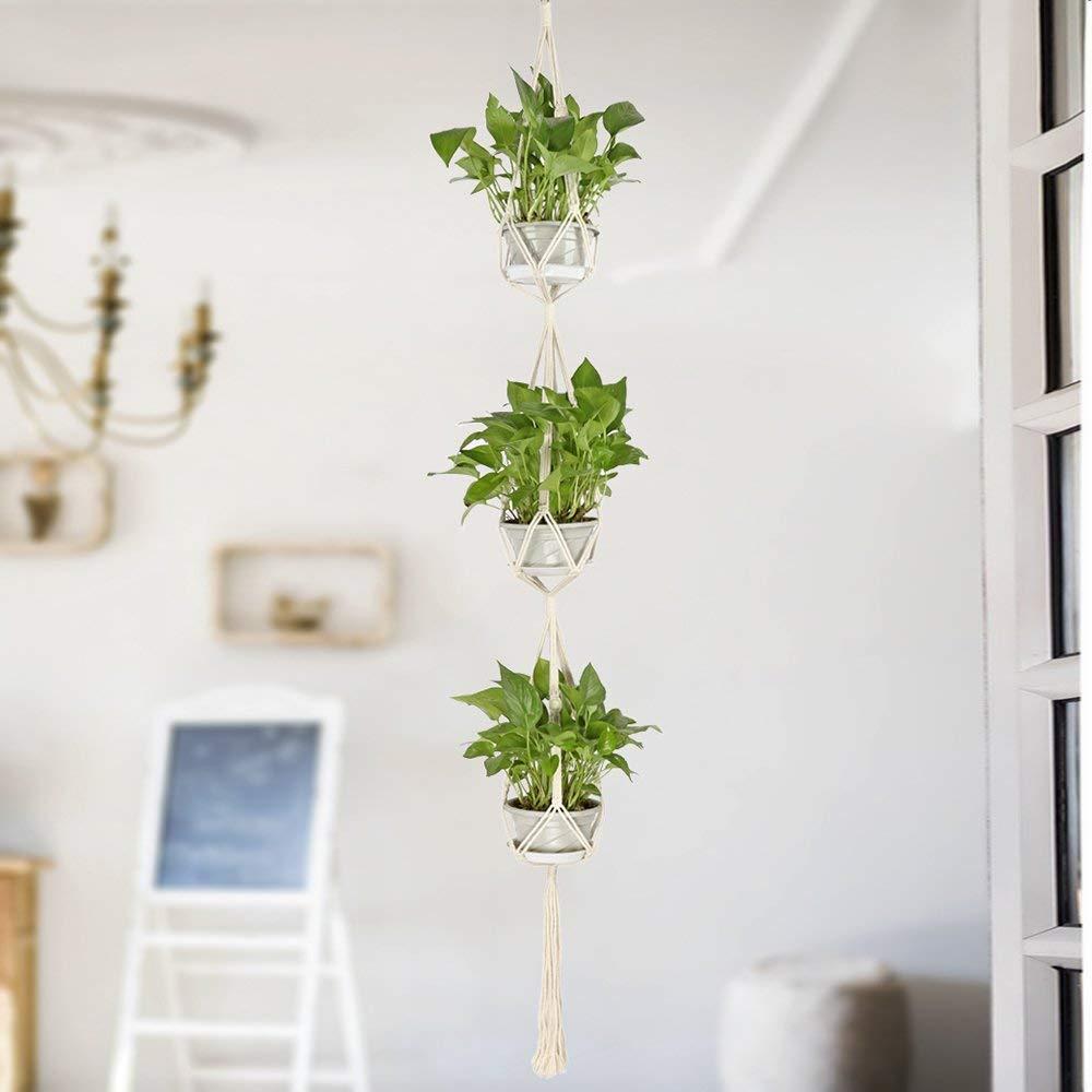 Hanging Plant Holders,Classic Macrame 3 Tier Plant Hanger for Hanging Holder Flower Baskets Pot Indoor Outdoor Decor with 2 Hooks
