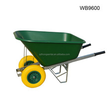 two wheels America market big plastic tray construction building garden wheelbarrow with steel wooden handle wb9600