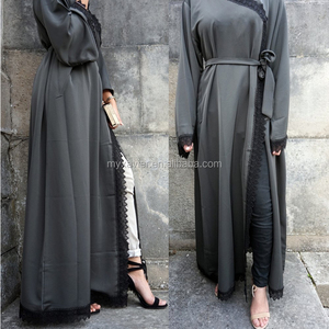 Hotsale latest new custom Satin silk abaya with lace trim silk route abaya for women satin kimono