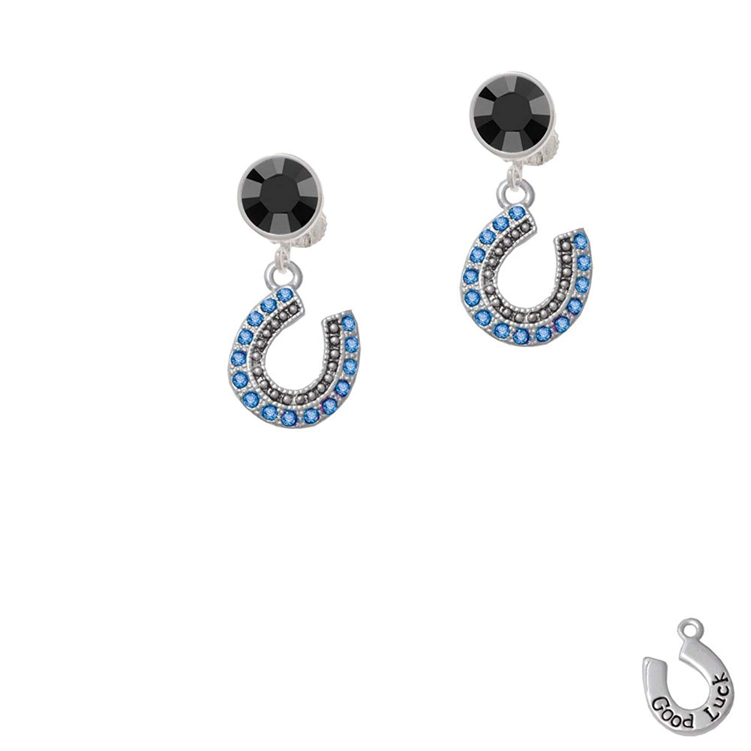 28c76687a89 Silvertone Beaded Blue Crystal Horseshoe with Good Luck - Black Crystal  Clip on Earrings